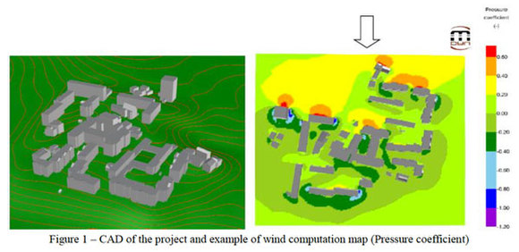 CAD of the project and example of wind computation map with pressure coefficient